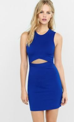 blue front cut-out mini sheath dress from EXPRESS