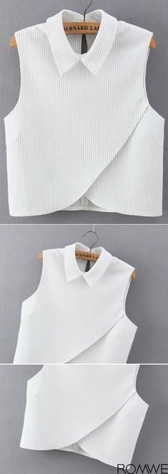 Shop Vertical Striped Wrap White Shirt at ROMWE, discover more fashion styles online. Fashion Details, Diy Fashion, Fashion Outfits, Womens Fashion, Work Fashion, Fashion Photo, Fashion News, Diy Kleidung, Vetement Fashion