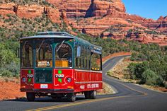 Sedona Trolley driving past the red rocks