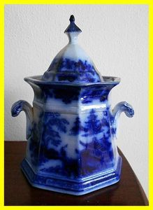 W Adams & Sons Ironstone Tonquin Flow Blue Covered Sugar Bowl c 1850s