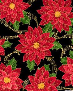 Sounds of the Season - Musical Poinsettia - Black/Gold