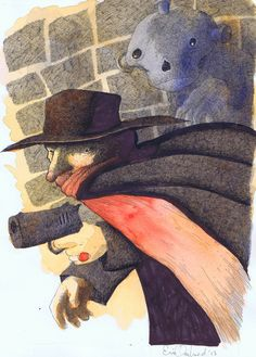 The Shadow! A fun pen and ink and watercolor commission done for a well know Shadow art collector. by Eric Orchard