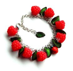 Raspberry summer charm bracelet - Polymer clay jewelry - woodland bracelet - miniature forest botanical jewelry - eco rustic wedding