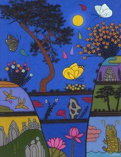 이희중 작/ 음악: Fly me to the moon - 여울/ 정말 예쁘다고 생각한 그림이다. 파란색이지만 차가움 봐는 밤의 한적함과 고즈넉함이 느껴진다. 노랗게 오롯이 떠있는 달과 한가로이 날아다니는 투명한 나비, 그 외에도 새와 꽃 등이 예쁜 색감의 생물들이 함께 어우러져 비밀스러운 달빛 피크닉 분위기를 자아낸다. 이 그림 속의 밤은 신비롭고 평온할 것만 같다. 저 나비를 타고 달로 여행을 가고 싶을 것만 같은 기분이 들게 만든다. 여울의 'Fly me to the moon'의 가야금의 청아한 음색에 나의 바람을 담아본다. Flag, Painting, Country, Rural Area, Painting Art, Paintings, Science, Country Music, Painted Canvas
