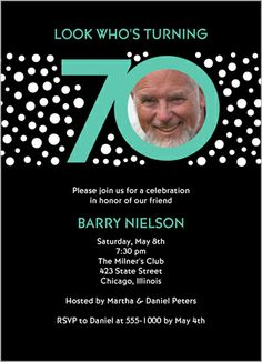 Look Who's 70 Birthday Invitation
