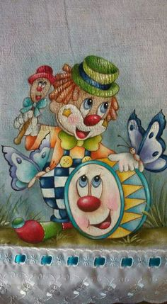 Image Cirque, Clown Paintings, Mouse Illustration, Cute Clown, Send In The Clowns, Kids Patterns, Owl Art, Kids Boxing, Fabric Painting