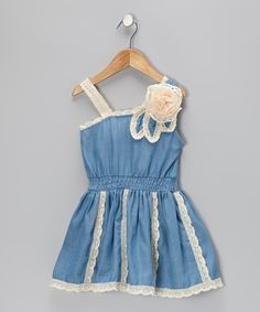 Take a look at this Denim Crochet Rosette Dress - Toddler & Girls on zulily today!