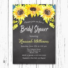sunflower bridal shower invitation by on etsy
