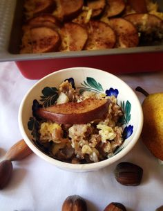 Autumn breakfast. Baked porridge with pumpkin and pear.