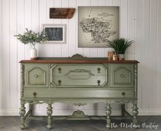 Loving this solid walnut buffet makeover by The Modern Vintage. The body was painted in General Finishes Basil Milk Paint, then distressed and glazed in a dark walnut stain. The top was stripped then stained with Early American Water Based Wood Stain. Refurbished Furniture, Paint Furniture, Repurposed Furniture, Furniture Makeover, Vintage Furniture, Home Furniture, Furniture Design, Furniture Ideas, Furniture Websites