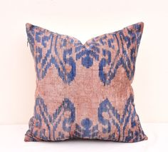 Ikat pillow - Velvet Ikat pillow -Velvet Pillow-Ikat Pillow Cover-Velvet Designer pillow-Decorative pillow-Velvet cushion-Throw ikat pillow