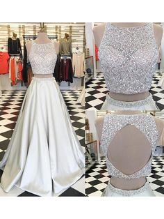 Sparkle Two Piece A-Line Crew Sleeveless Floor-Length Beading Ivory Prom Dress #twopiece #aline #sleeveless #beading #ivory #white #prom #dress