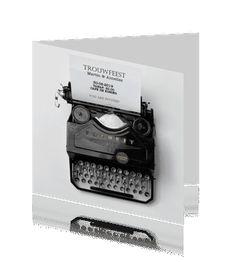 Uitnodiging trouwfeest typemachine met aanpasbare tekst