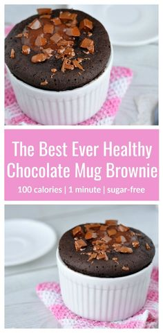 The Best Ever Healthy Mug Brownie Recipe | This healthy mug brownie is just 100 calories and is so easy to make! It's got a super-yummy fudgy texture and contains no eggs or sugar! Try it for dessert tonight. You'll love it! #healthydessert #healthybrownie #healthymugcake