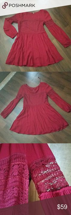 """NWOT Free People burgundy mini  Dress size 10 NEW WITHOUT TAGS -Length 34"""" Burgundy color,  lined Free People Dresses"""