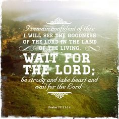 Psalm 27:13-14 ~ be strong & take heart & wait for the LORD