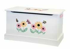 White TOY BOX Butterfly Bumble Bee Flower by savingshepherd