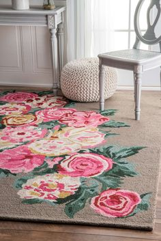 TopallPE01 Hand Hooked Beautiful Rose Bouquet Rug
