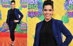 America Ferrera at the 2014 KCAs in Veronica Beard Double Breasted Jacket & Silk Panel Pant. http://veronicabeard.com/