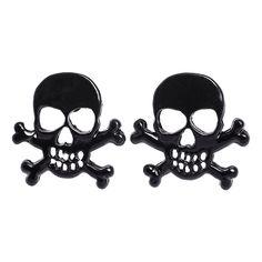 Skull & Crossbone Earrings (Black)