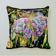 Butterfly Pillow, Butterfly Decorations, Golden Star, Custom Pillows, Party Hats, Gold Leaf, Knitted Fabric, Pet Supplies, Art Pieces