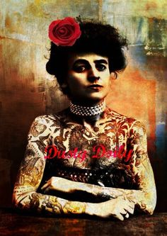 Vintage Tattoo Lady  Mixed Media Collage Print  by DustyDoily, $27.00