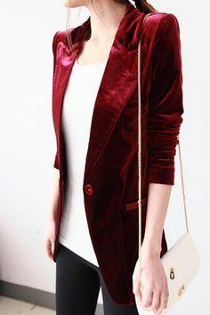 Red Silk Velvet Blazer. OMGosh!!!!