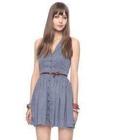 Chambray Halter Dress w/ Belt | FOREVER21 - 2000035900