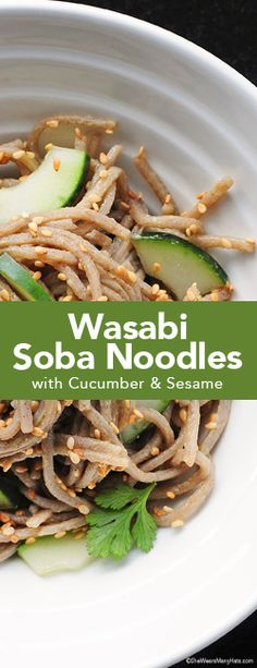 Easy recipe for Wasabi Noodles made with crunchy cucumbers and toasted sesame seeds. shewearsmanyhats.com