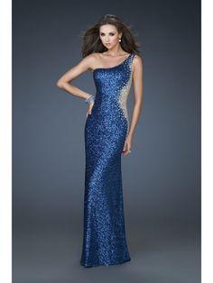 Blue, Sequin, One-Shoulder Dress