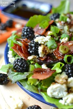 Blackberry, Bacon & Blue Cheese Salad AUTHOR:CATHY TROCHELMAN  INGREDIENTS Salad 4 c. mixed greens ½ c. crumbled blue cheese ½ c. fresh bl...