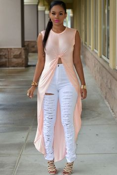 Light Pink Long High Low Top. Perfect for off-duty chic, knotted front detail and hi-lo silhouette add an edgy finish to this relaxed fit top. Stretchy, lightweight, oversized top wear features round neckline, sleeveless, and a long asymmetrical back hem that'll fall beautifully with any outfit. No closures are included.
