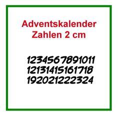 Bügelbild ♥ Zahlen 1-24 für den Adventskalender ca. 2 cm