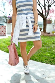 striped dress for spring - @mystylevita - fashion blog
