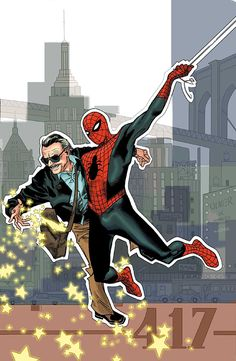 westcoastavengers:      Stan Lee and Spider Man by Olivier Coipel