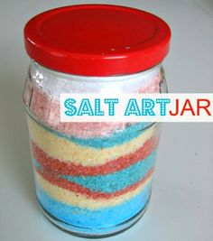 Color Salt then make it into fantastic designs. Great summer craft for kids .