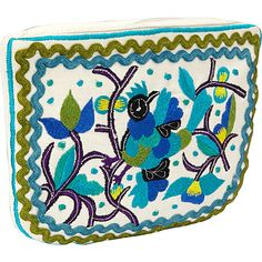 Moyna Handbags Cosmetic Pouch Ivory/Turquoise - Moyna Handbags Ladies Cosmetic Bags