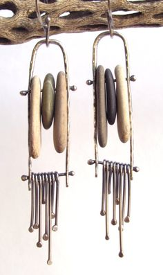 Earrings - Dangle Fringe - Kinetic - Rivet - Sterling Silver - Beach Stones - Hoop - Silversmith - RMD Designs on Etsy, $40.00