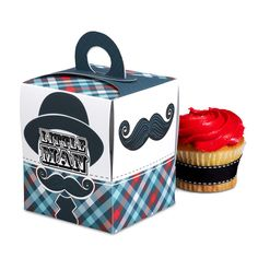 Little Man Mustache Cupcake Boxes, 84107 via Birthday Express