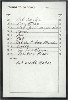 "Une ""to do list"" de Johnny Cash, sans date"