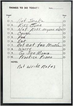 """Une """"to do list"""" de Johnny Cash, sans date"""