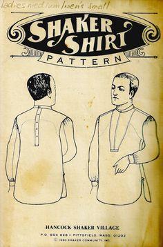 Vintage Shaker Shirt Pattern, Hancock Shaker Village