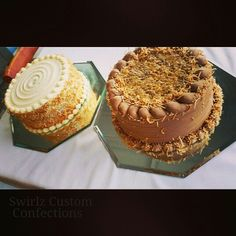 Carrot cake and German chocolate www.swirlzcustomconfections.com