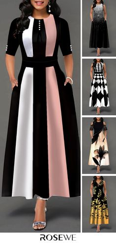 Hot Sale & Color Block Button Detail High Waist Maxi Dress – Diet and Slimming Modest Fashion, Hijab Fashion, Fashion Outfits, Womens Fashion, 00s Fashion, Fashion Editor, Fashion 2017, Simple Dresses, Cute Dresses