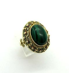 Great Gift Idea! Vintage Gold Plated Sterling Silver Malachite Statement Ring.  An Oval Malachite sits in an ornate Gold Plated…
