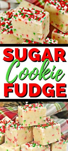 An easy sugar cookie Christmas fudge recipe great for Christmas par. - An easy sugar cookie Christmas fudge recipe great for Christmas parties or just for a - Christmas Fudge, Christmas Food Gifts, Christmas Sugar Cookies, Christmas Cooking, Christmas Parties, Christmas Time, Holiday Foods, Holiday Treats, Christmas Deserts Easy