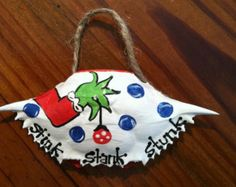 Hand Painted Crab Shell, The Grinch, 'stink, stank, stunk'