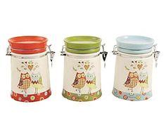Set di 3 barattoli ermetici in ceramica con decalcomania - 15x15x18 cm