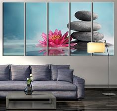 Extra Large Wall Art Lotus Flower and Stones Canvas Print, Zen Yoga Relax Wall Art, Lotus on Water Wall Art Canvas Print