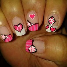 Rosado Funky Nail Art, Funky Nails, Cute Nail Art, Cute Nails, Pretty Nails, Quilted Nails, Valentine Nail Art, Spring Nail Art, Heart Nails